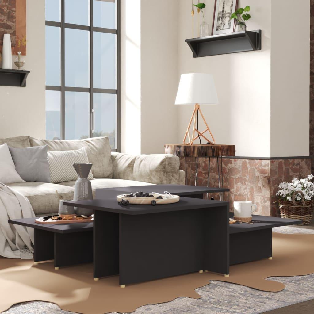 vidaXL sofaborde 2 dele 111,5x50x33 cm spånplade grå