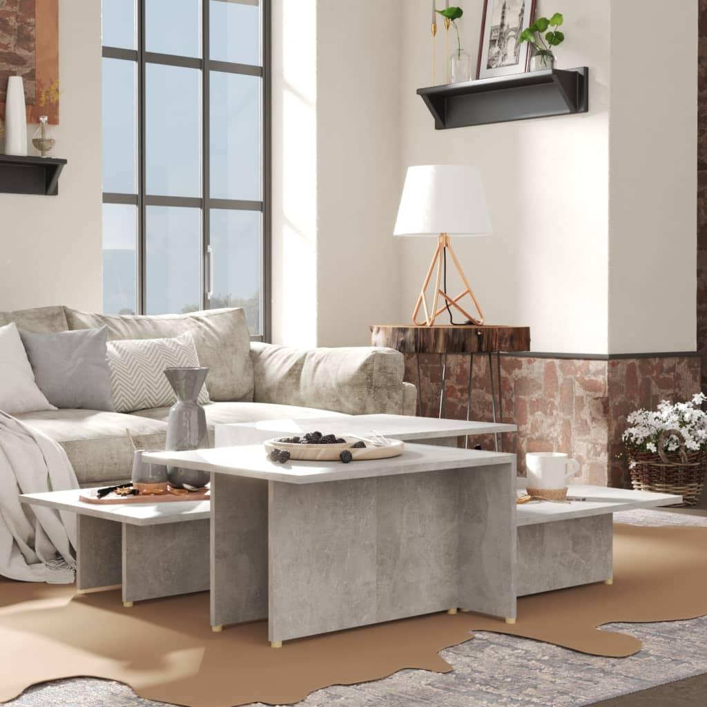 vidaXL sofaborde 2 dele 111,5x50x33 cm spånplade betongrå