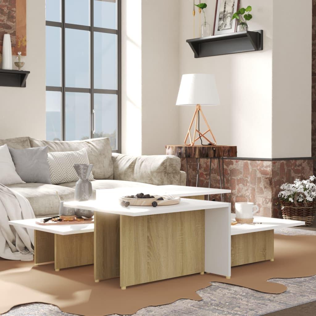 vidaXL sofaborde 2 dele 111,5x50x33 cm spånplade sonoma-eg og hvid