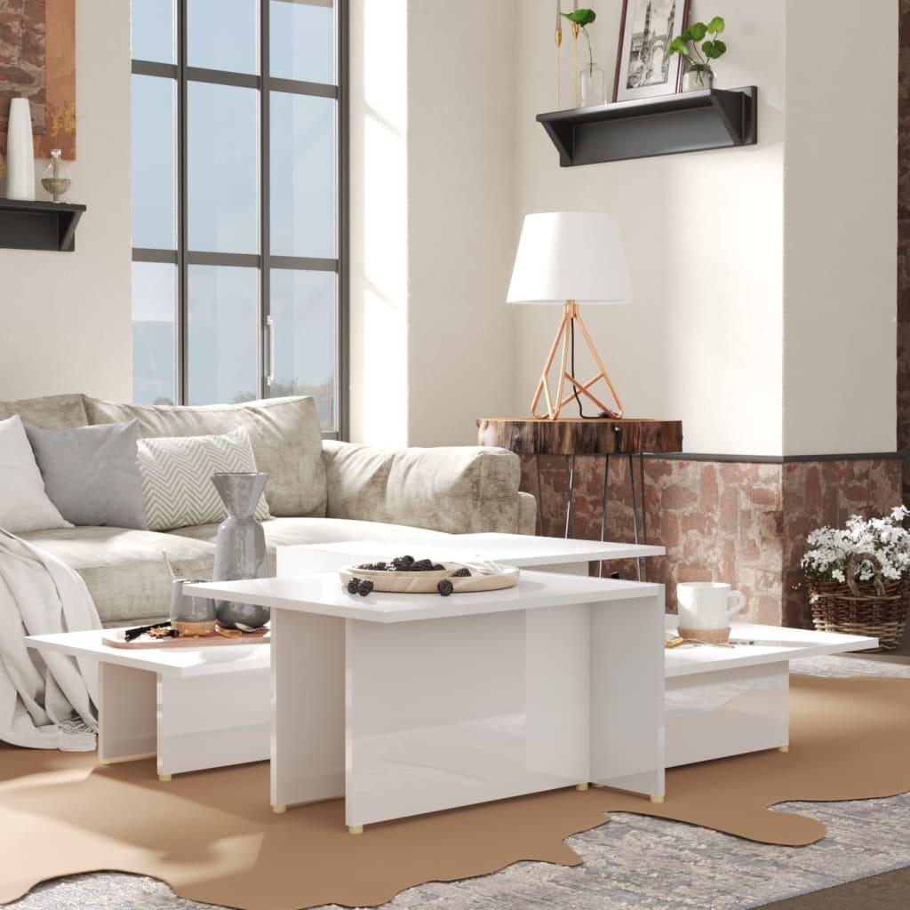 vidaXL sofaborde 2 dele 111,5x50x33 cm spånplade hvid højglans