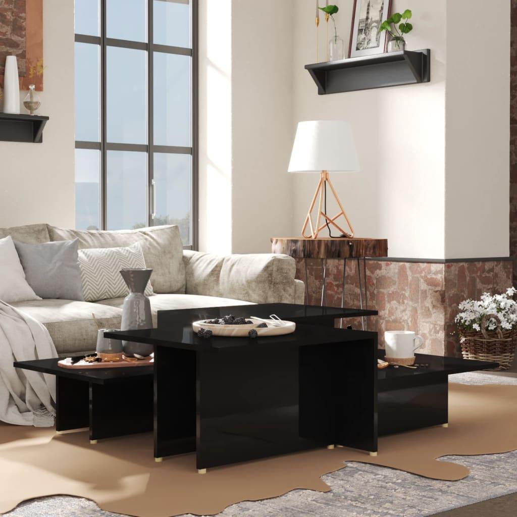 vidaXL sofaborde 2 dele 111,5x50x33 cm spånplade sort højglans