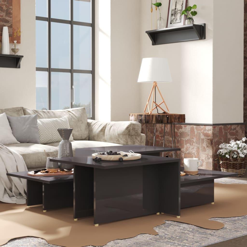vidaXL sofaborde 2 dele 111,5x50x33 cm spånplade grå højglans