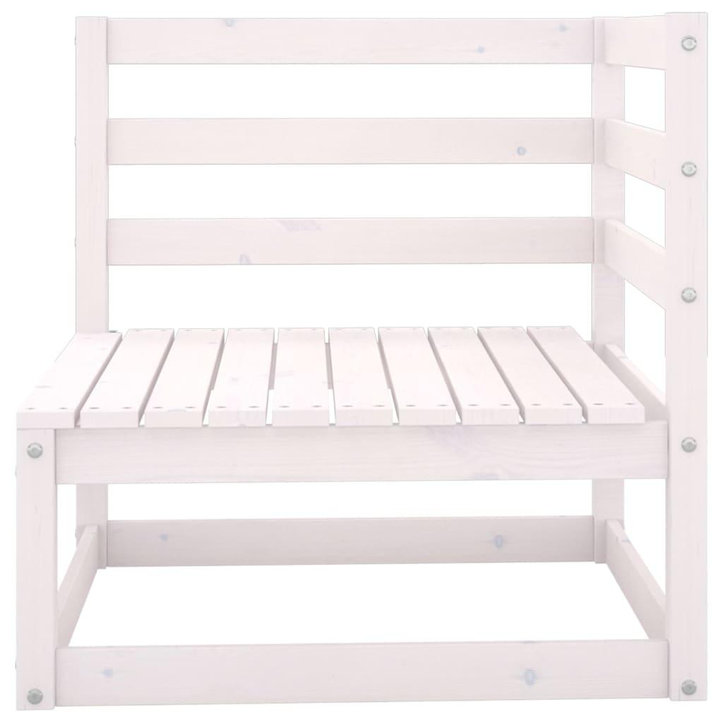 Tuinbank 2-zits met kussens massief grenenhout wit