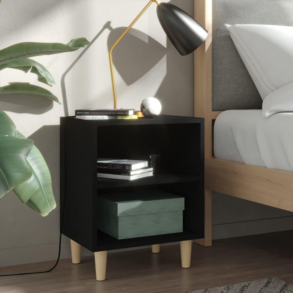 Noční stolek s masivními dřevěnými nohami černý 40 x 30 x 50 cm
