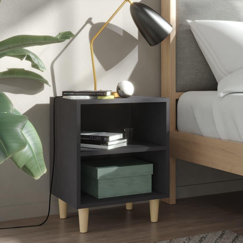Noční stolek s masivními dřevěnými nohami šedý 40 x 30 x 50 cm