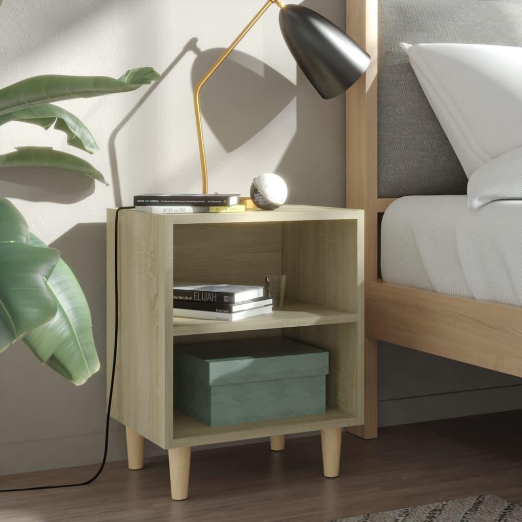 Noční stolek masivní dřevěné nohy dub sonoma 40 x 30 x 50 cm