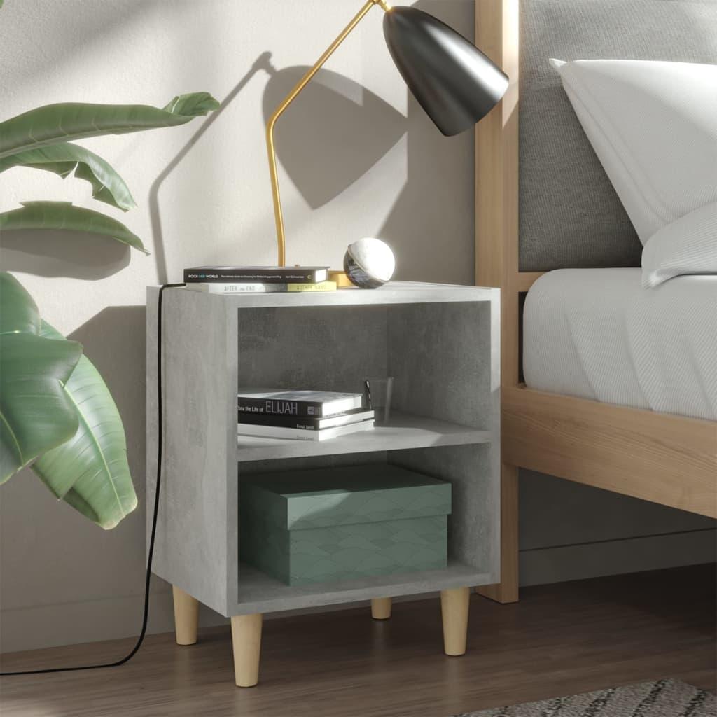 Noční stolek masivní dřevěné nohy betonově šedý 40 x 30 x 50 cm