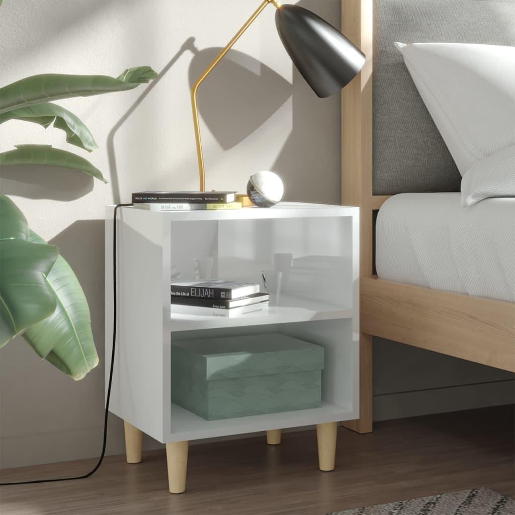 vidaXL Nachtkastjes 2 st met houten poten 40x30x50 cm hoogglans wit
