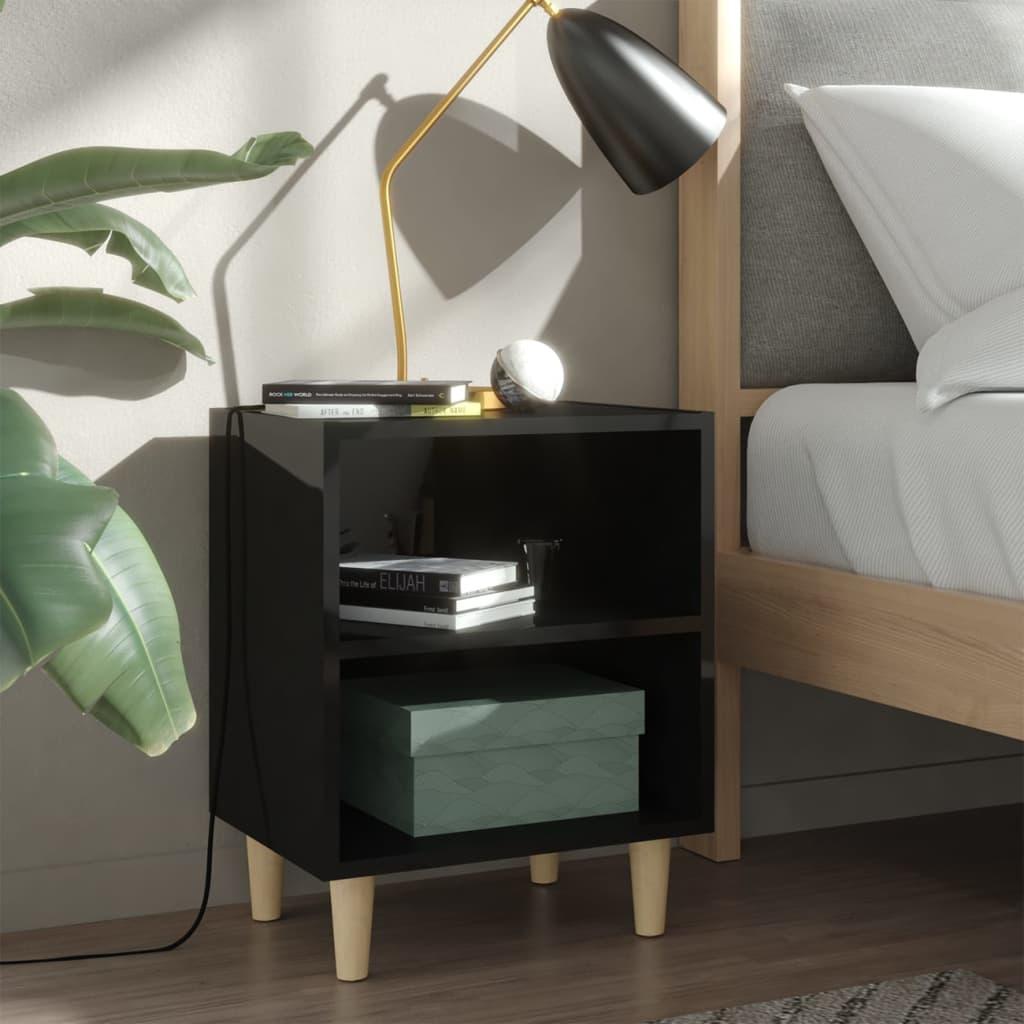 Noční stolek masivní dřevěné nohy lesklý černý 40 x 30 x 50 cm
