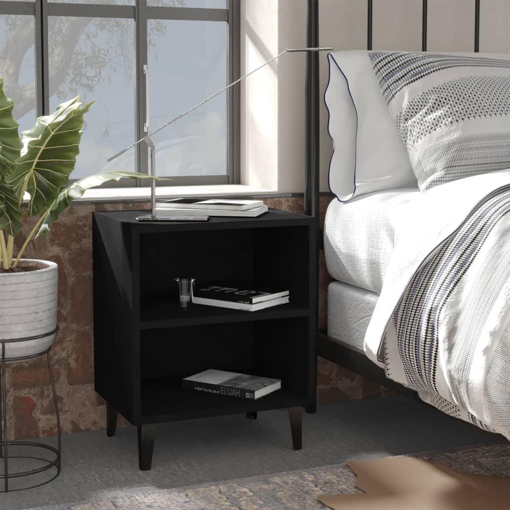 Noční stolek s kovovými nohami černý 40 x 30 x 50 cm
