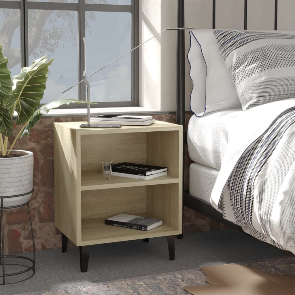 Noční stolek s kovovými nohami dub sonoma 40 x 30 x 50 cm