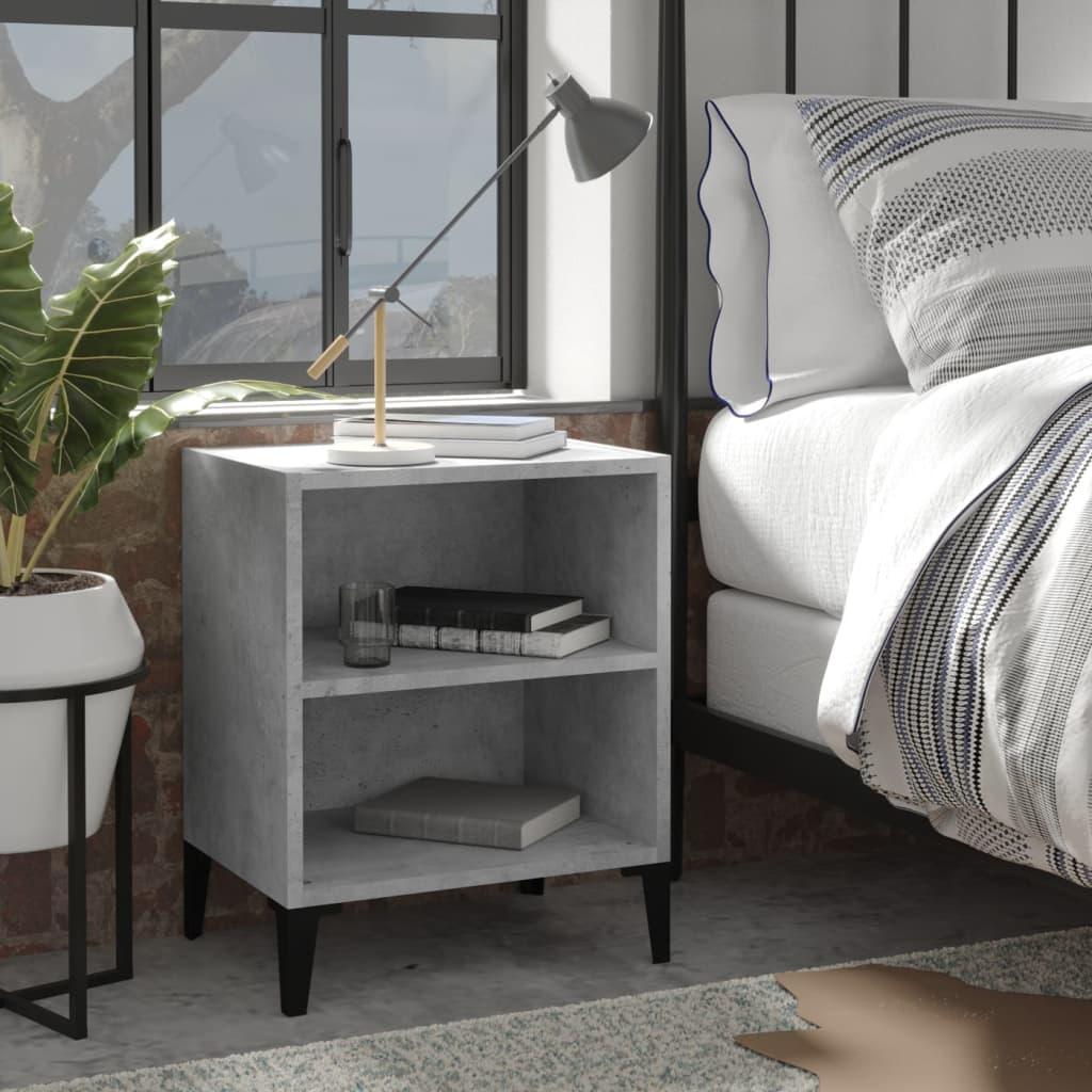 vidaXL Noćni ormarić s metalnim nogama siva boja betona 40x30x50 cm