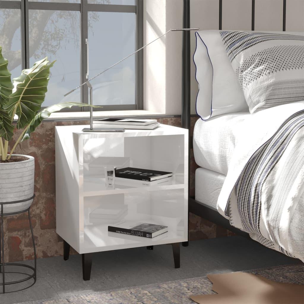 Noční stolek s kovovými nohami bílý s vysokým leskem 40x30x50cm