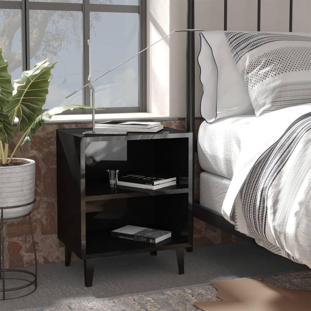 Noční stolek s kovovými nohami černý vysoký lesk 40x30x50 cm