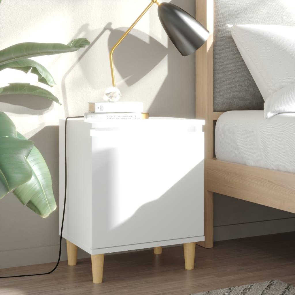 Noční stolek s masivními dřevěnými nohami bílý 40 x 30 x 50 cm