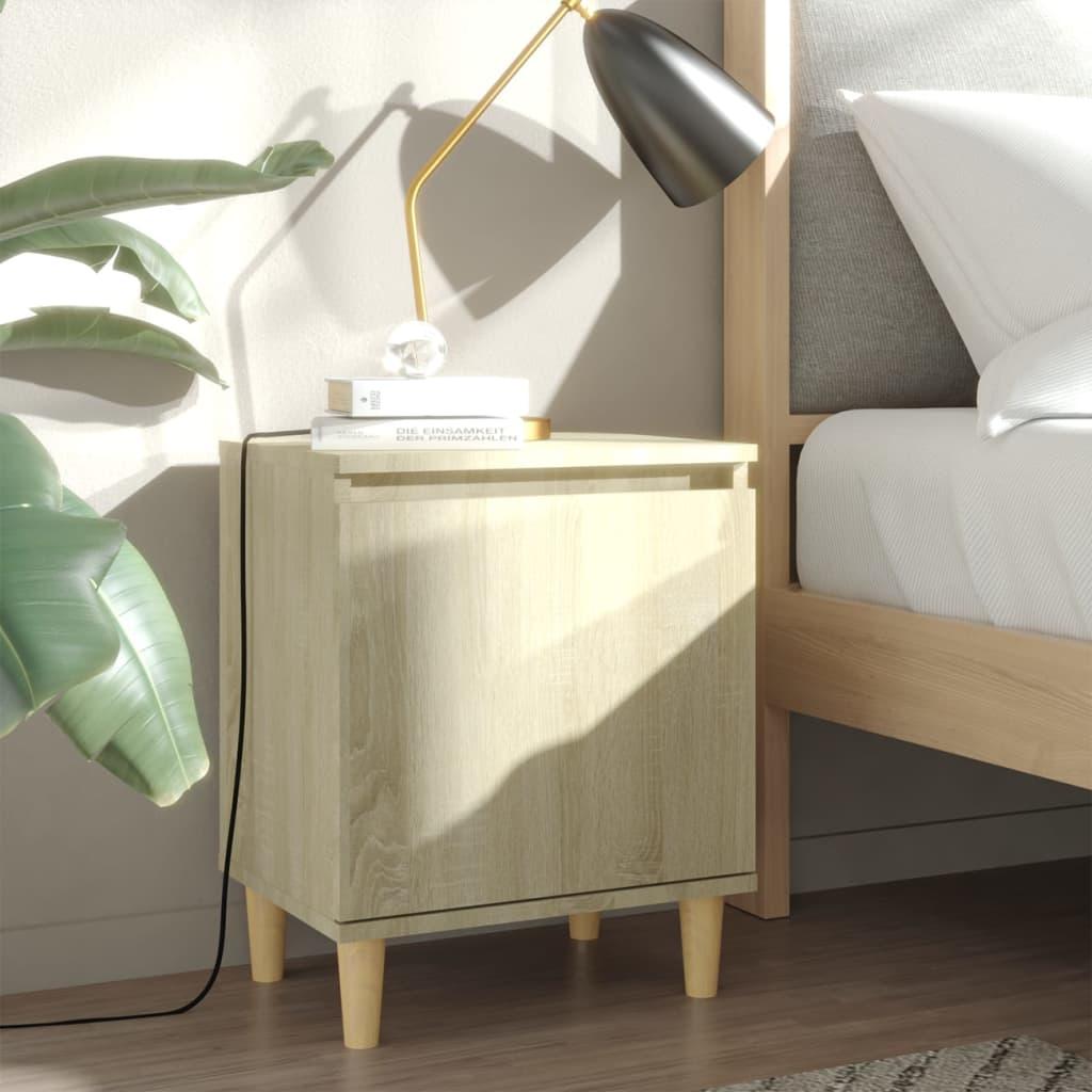 vidaXL Nachttisch mit Massivholz-Beinen Sonoma-Eiche 40x30x50cm