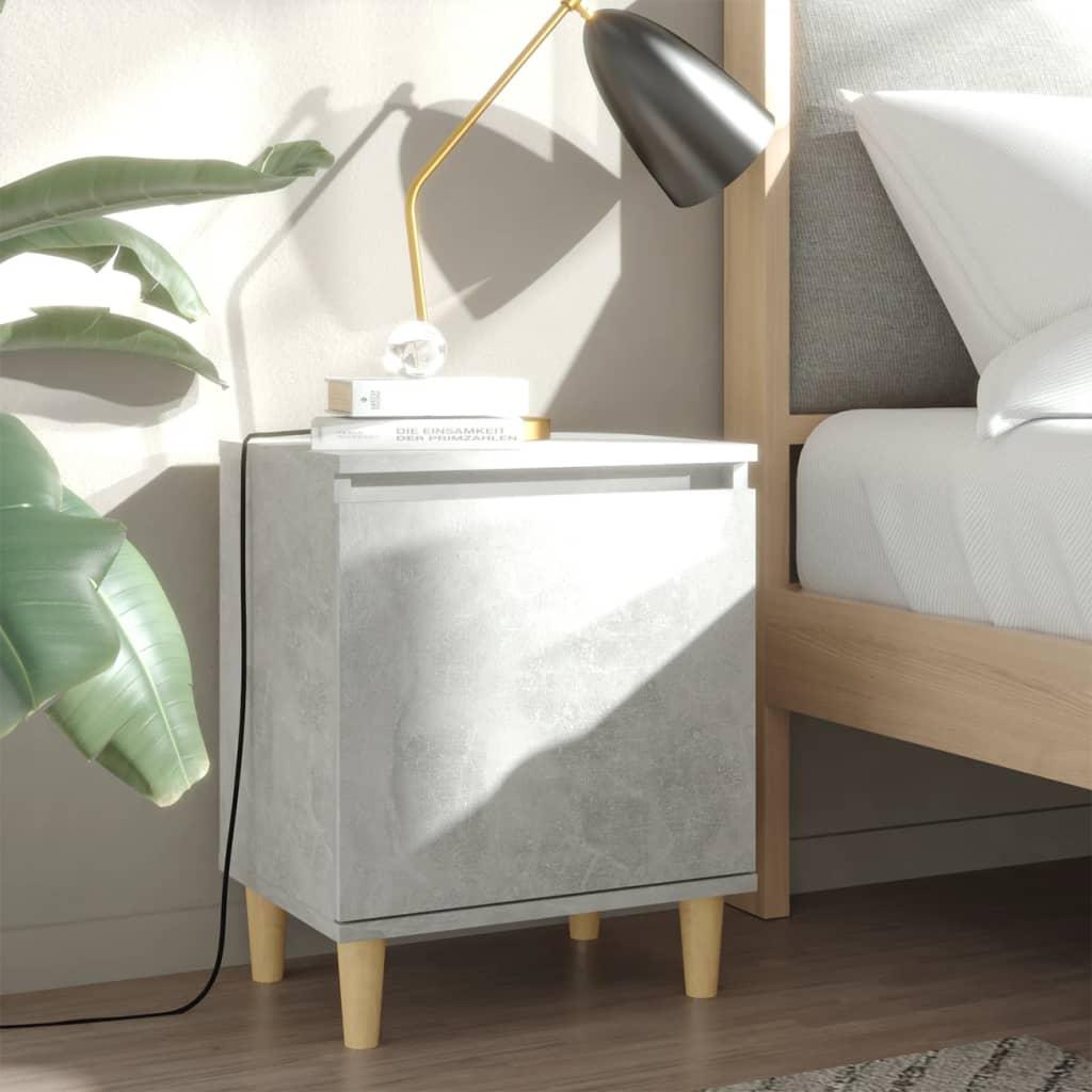 vidaXL Noćni ormarić s drvenim nogama siva boja betona 40 x 30 x 50 cm