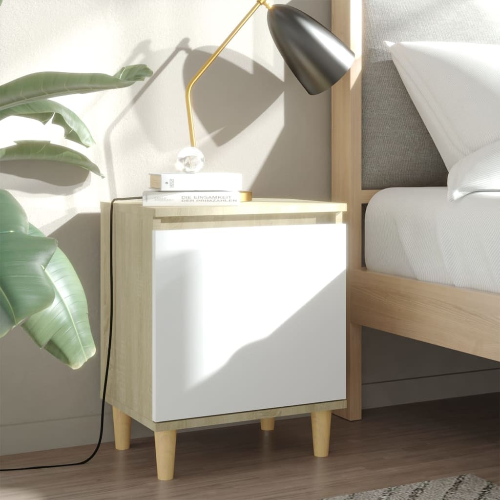vidaXL Noćni ormarić s drvenim nogama boja hrasta i bijeli 40x30x50 cm