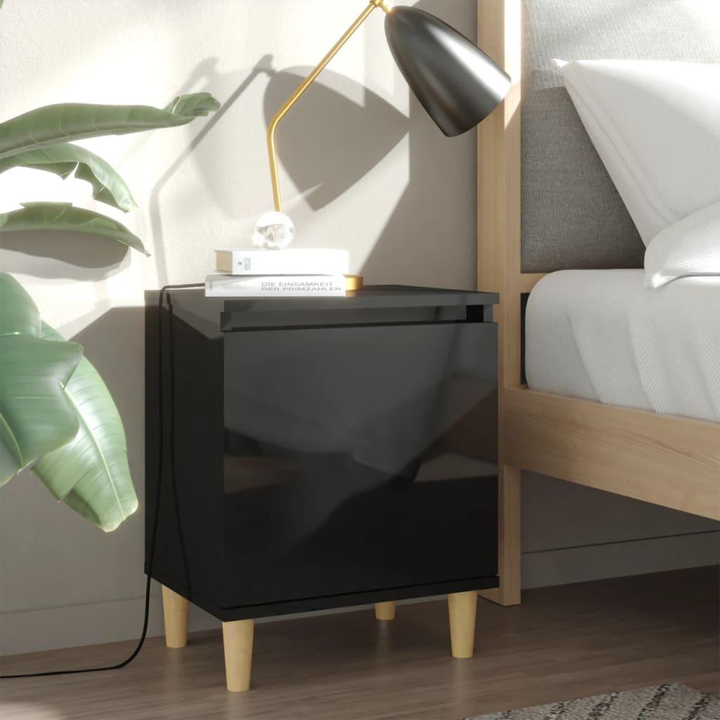 vidaXL Noćni ormarići s drvenim nogama 2 kom sjajni crni 40x30x50 cm