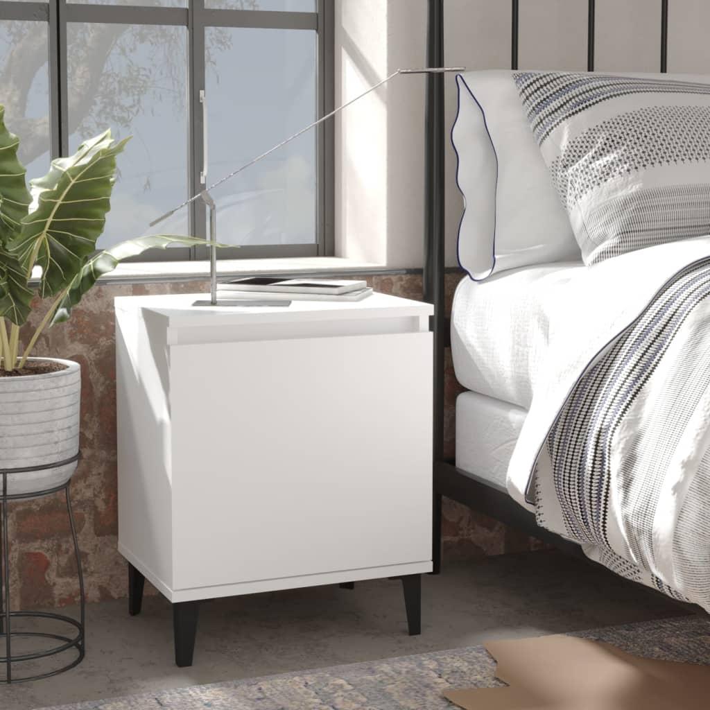 vidaXL Noćni ormarić s metalnim nogama bijeli 40 x 30 x 50 cm