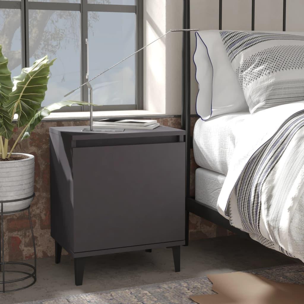 Noční stolek s kovovými nohami šedý 40 x 30 x 50 cm