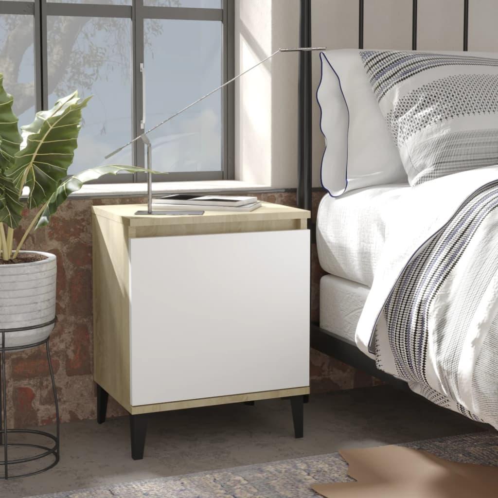 vidaXL sengeborde med metalben 2 stk. 40x30x50 cm sonoma-eg og hvid