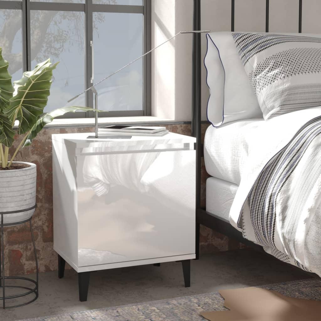 vidaXL Noćni ormarić s metalnim nogama visoki sjaj bijeli 40x30x50 cm