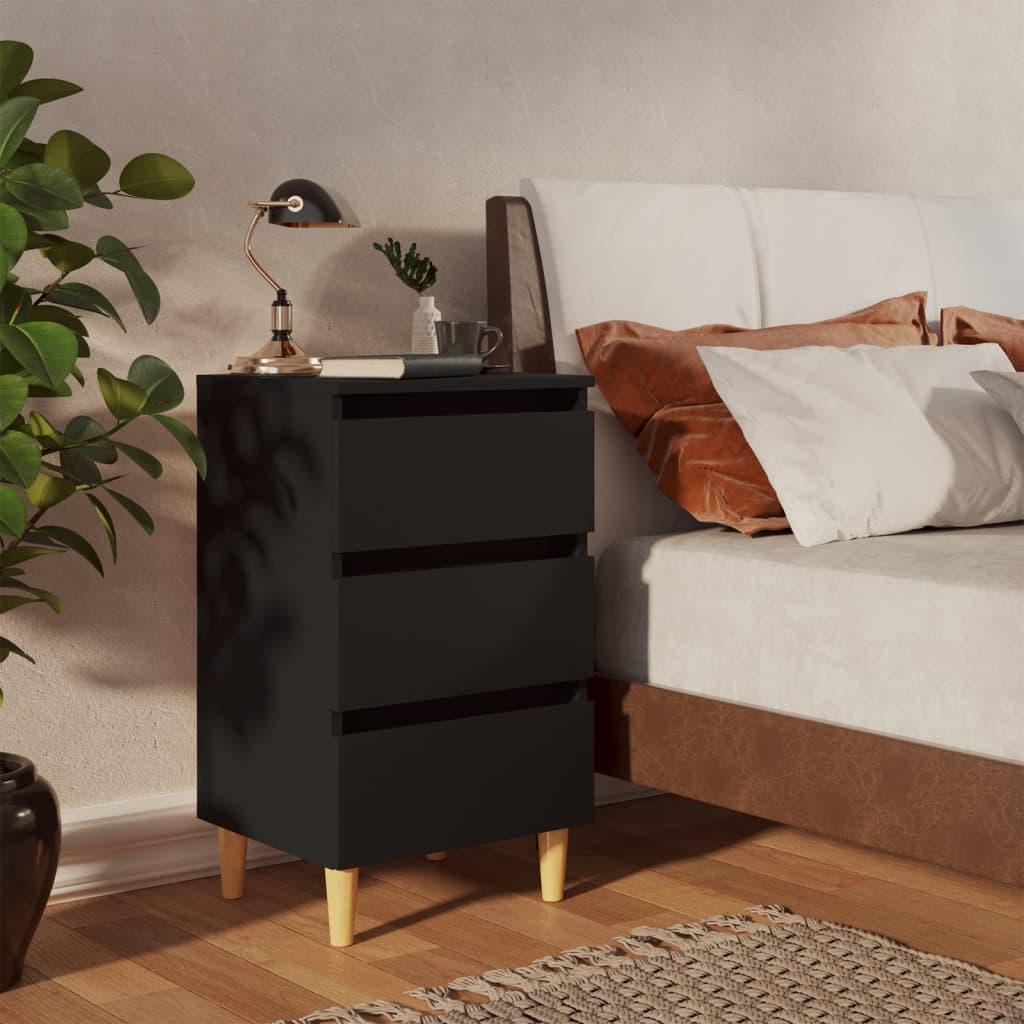 vidaXL Noćni ormarić s nogama od masivnog drva crni 40 x 35 x 69 cm