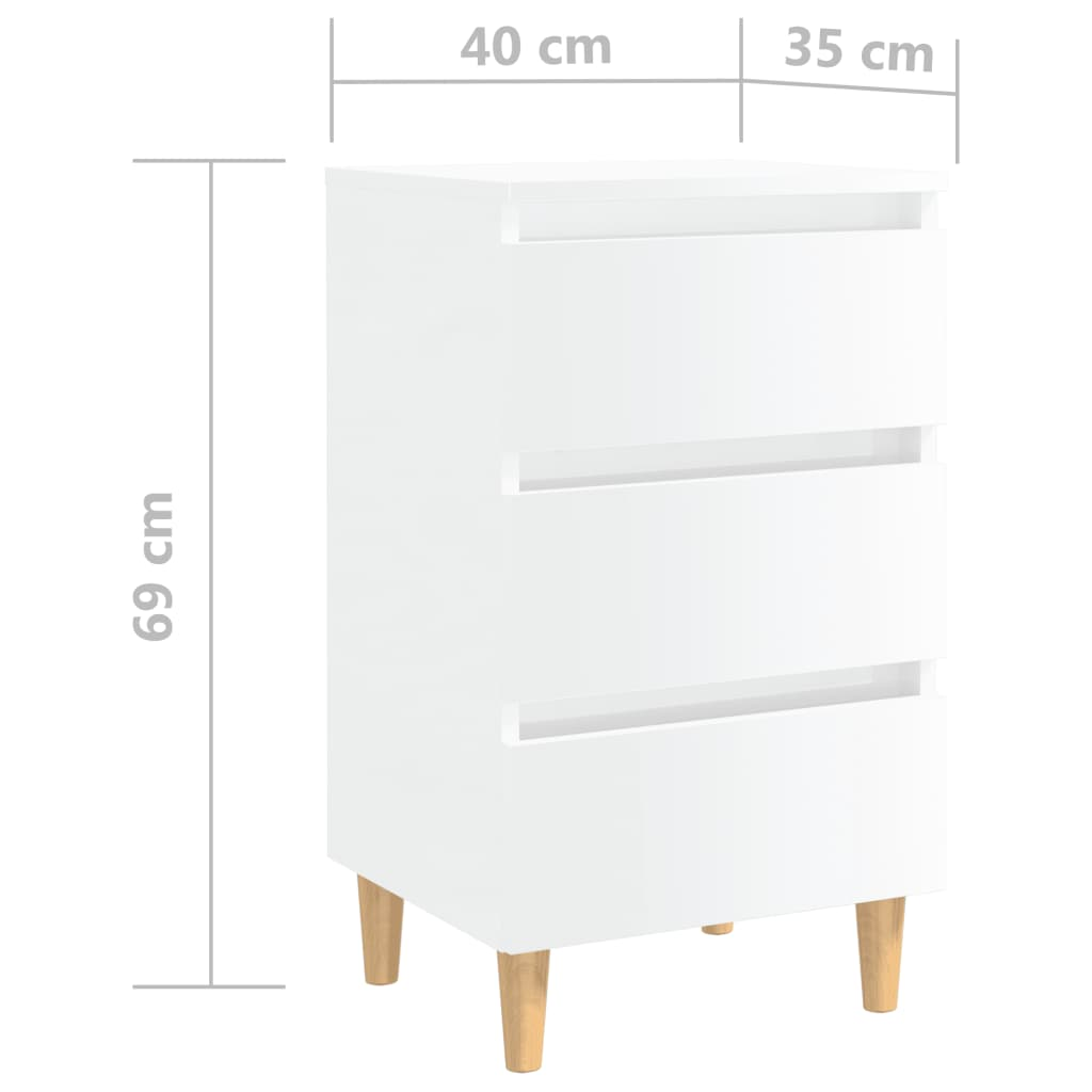 Noćni ormarić s drvenim nogama visoki sjaj bijeli 40x35x69 cm
