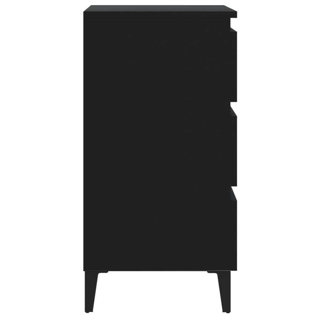 Noćni ormarić s metalnim nogama 2 kom crni 40 x 35 x 69 cm