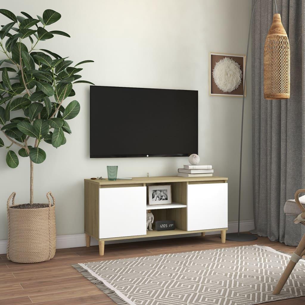 TV ormarić s drvenim nogama bijeli i boja hrasta 103,5x35x50cm