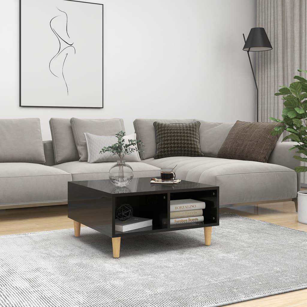 vidaXL Stolić za kavu visoki sjaj crni 60 x 60 x 30 cm od iverice