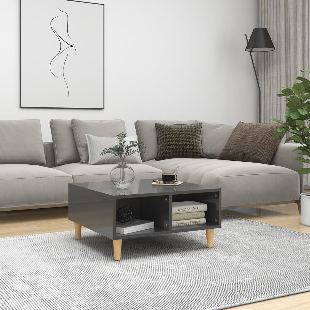 vidaXL Stolić za kavu visoki sjaj sivi 60 x 60 x 30 cm od iverice