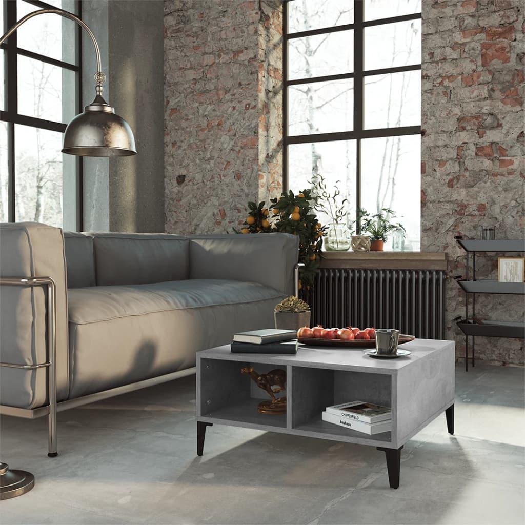 vidaXL Stolić za kavu siva boja betona 60 x 60 x 30 cm od iverice