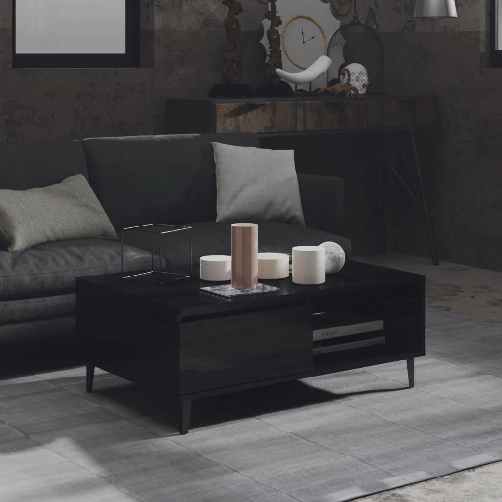 vidaXL Stolić za kavu visoki sjaj crni 90 x 60 x 35 cm od iverice