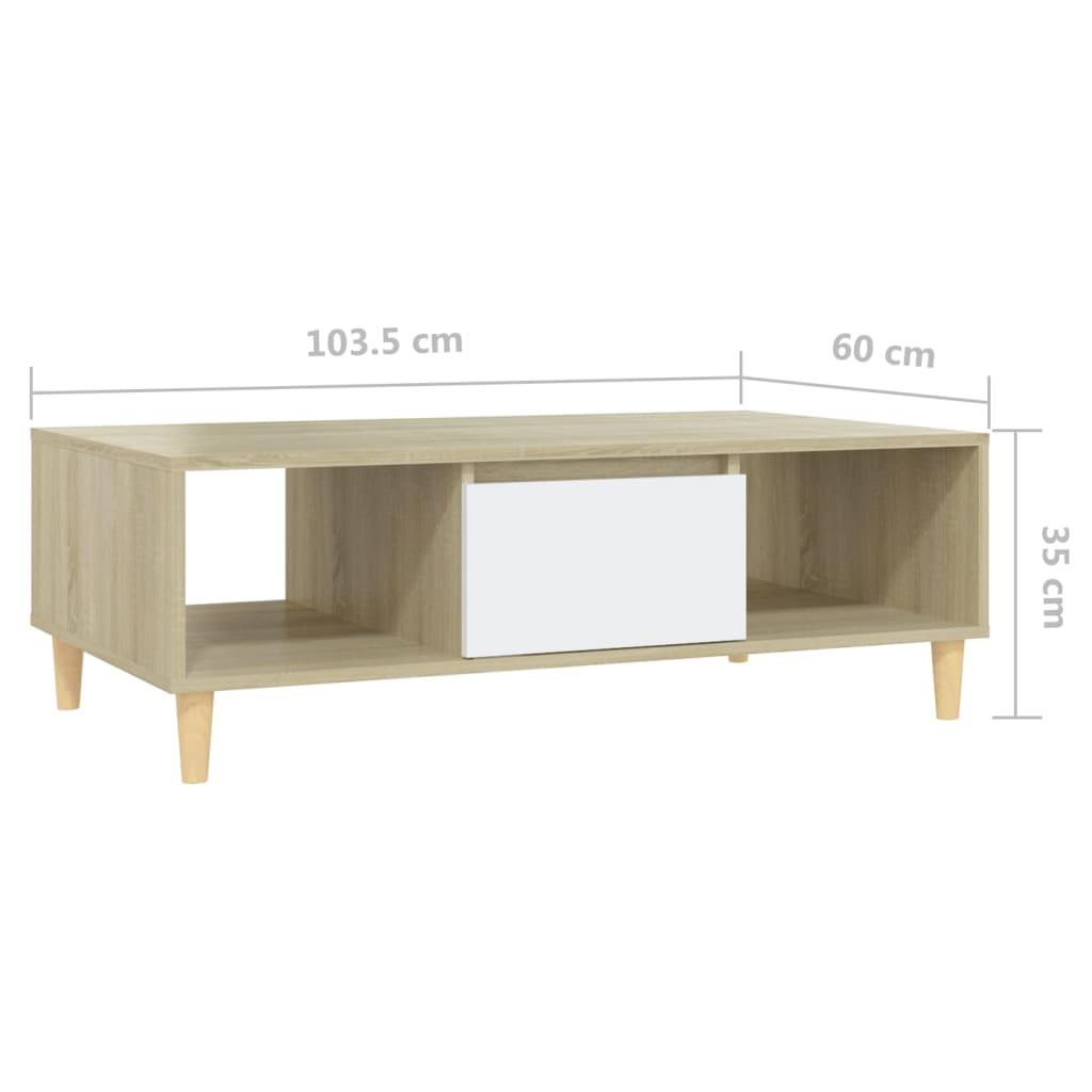 Kohvilaud, valge ja Sonoma tamm, 103,5x60x35 cm, puitlaastplaat