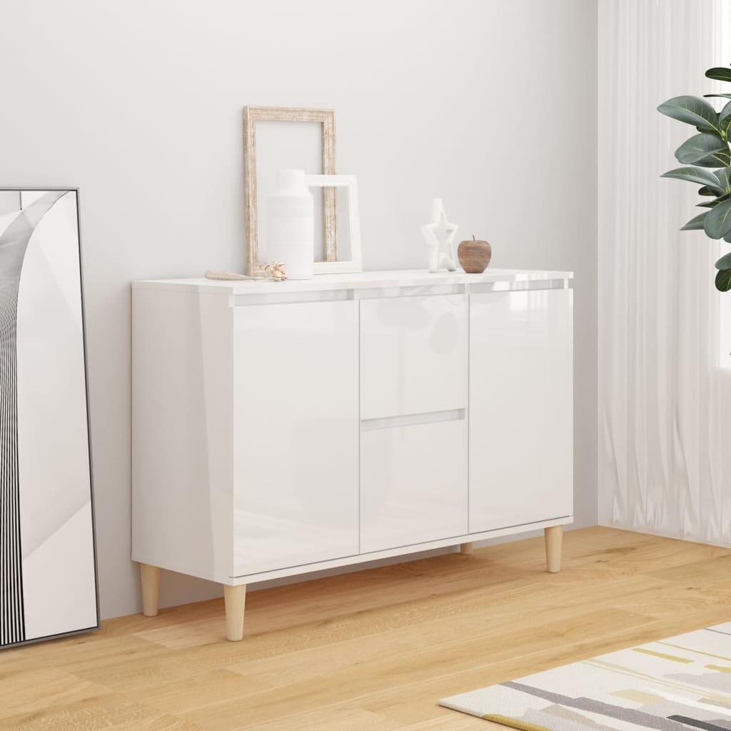 vidaXL Komoda visoki sjaj bijela 103,5 x 35 x 70 cm od iverice