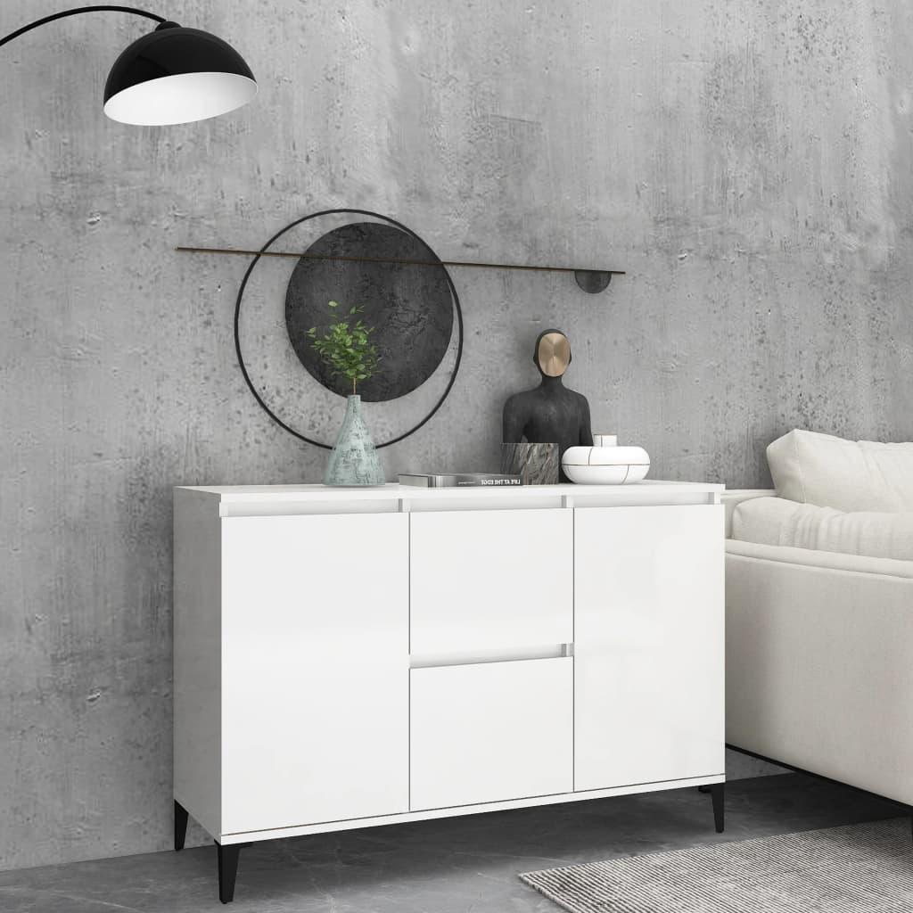 Dressoir 104x35x70 cm spaanplaat hoogglans wit