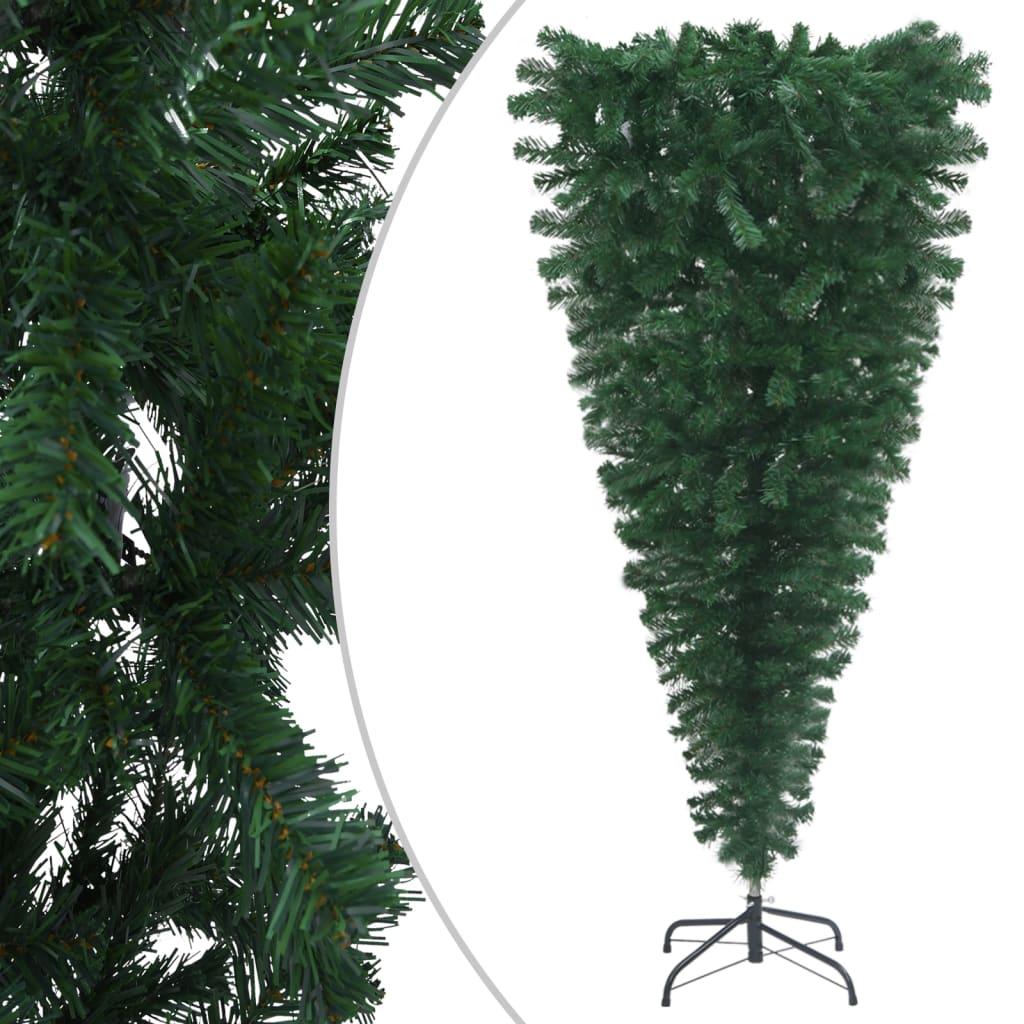 vidaXL Obrácený umělý vánoční stromek se stojanem zelený 240 cm
