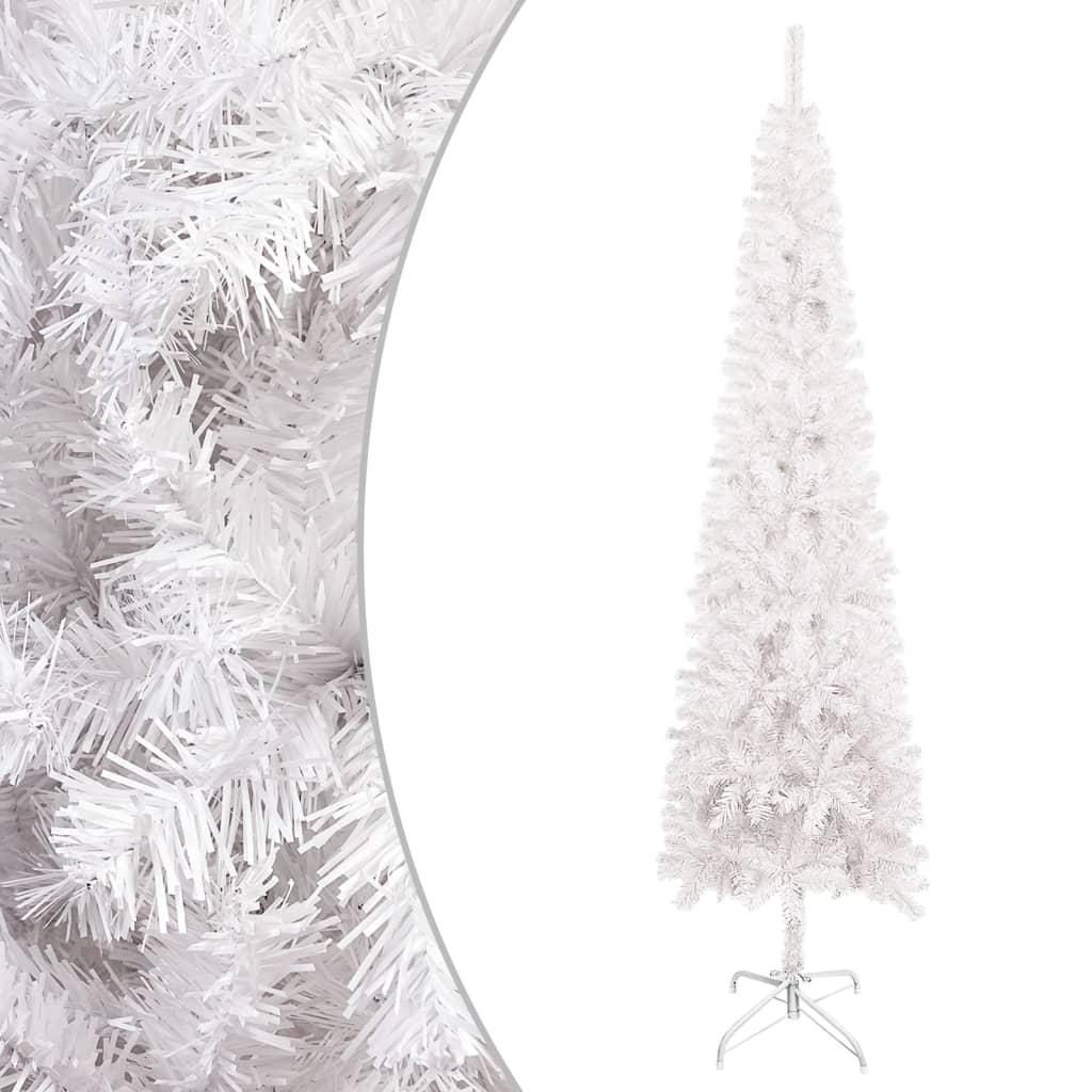 vidaXL Úzký vánoční stromek bílý 210 cm