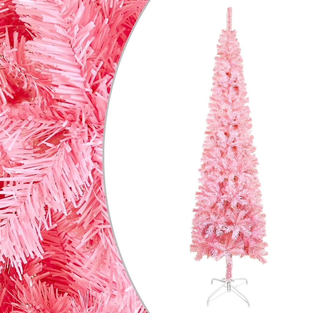 vidaXL Úzký vánoční stromek růžový 120 cm
