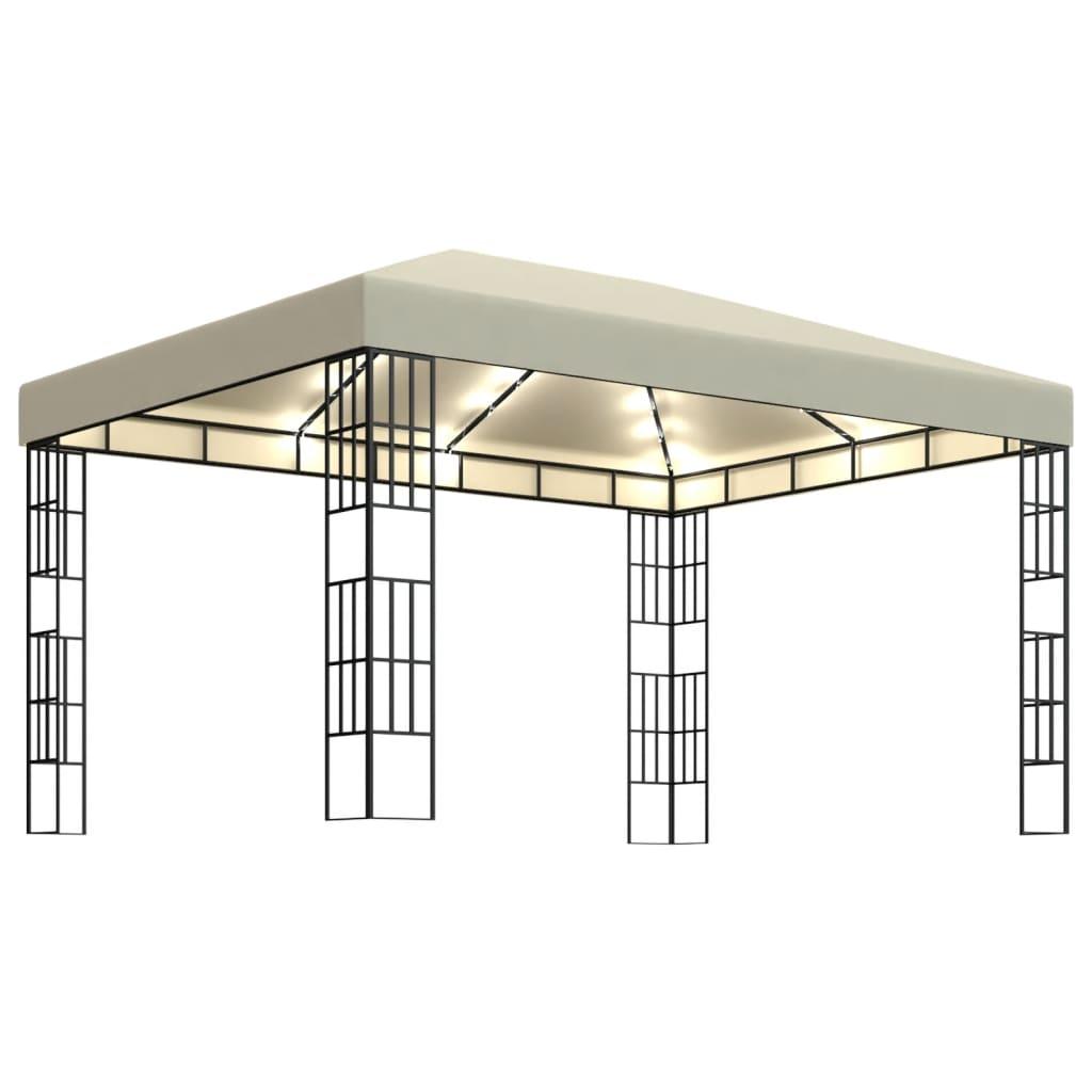 vidaXL Pavillon mit LED-Lichterkette 3×4 m Cremeweiß