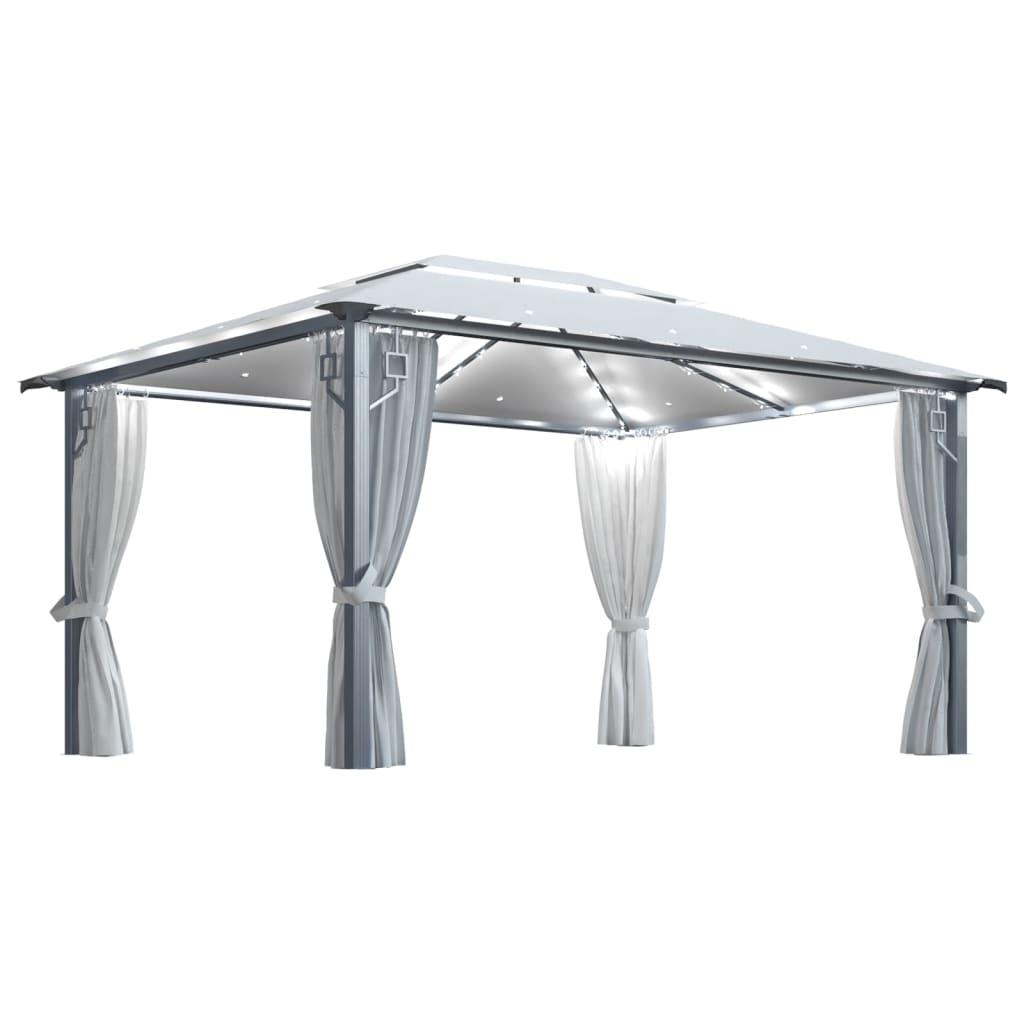 vidaXL Pavillon mit Vorhängen & LED-Lichterkette 400×300 cm Creme Alu