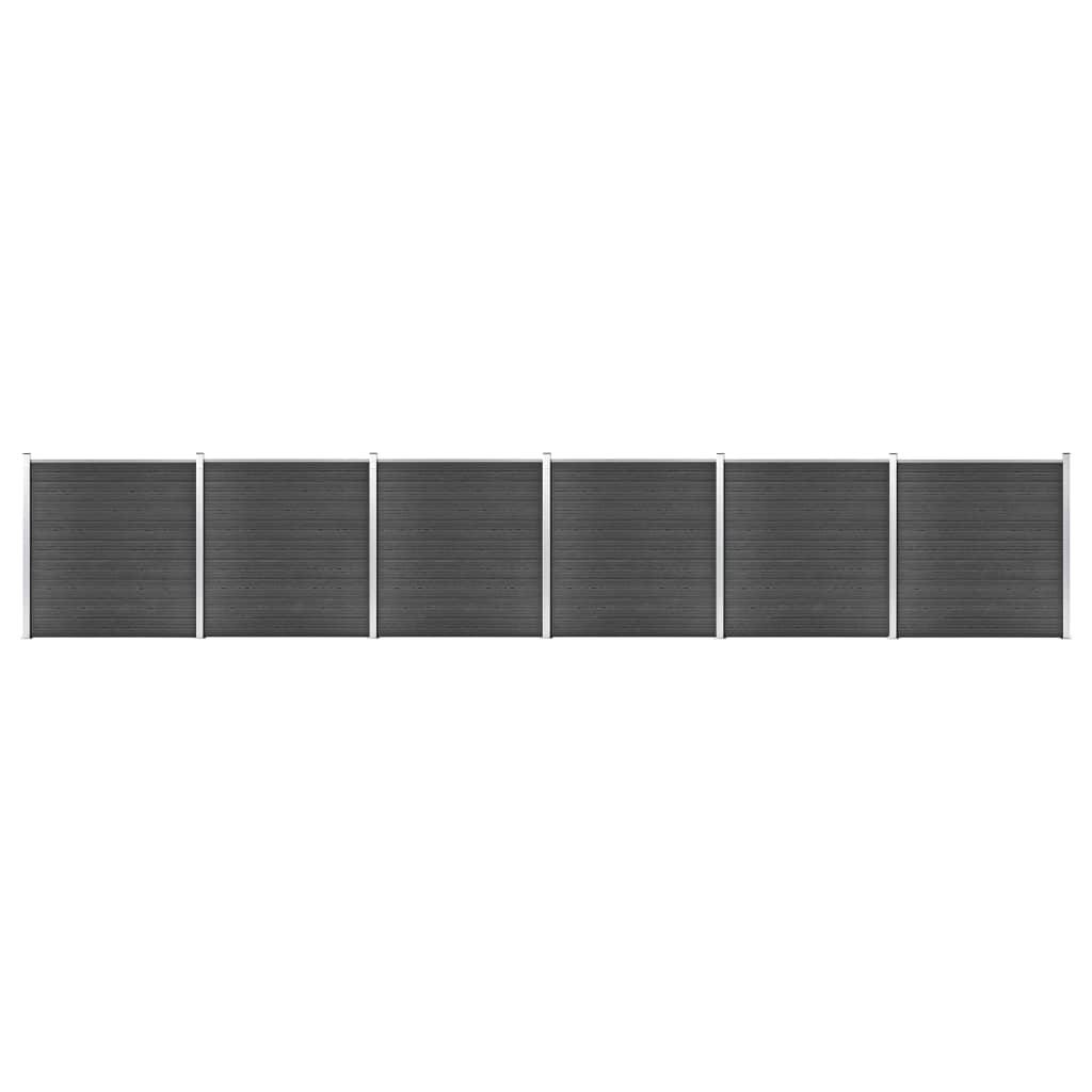 Schuttingpanelenset 1045x186 cm HKC zwart