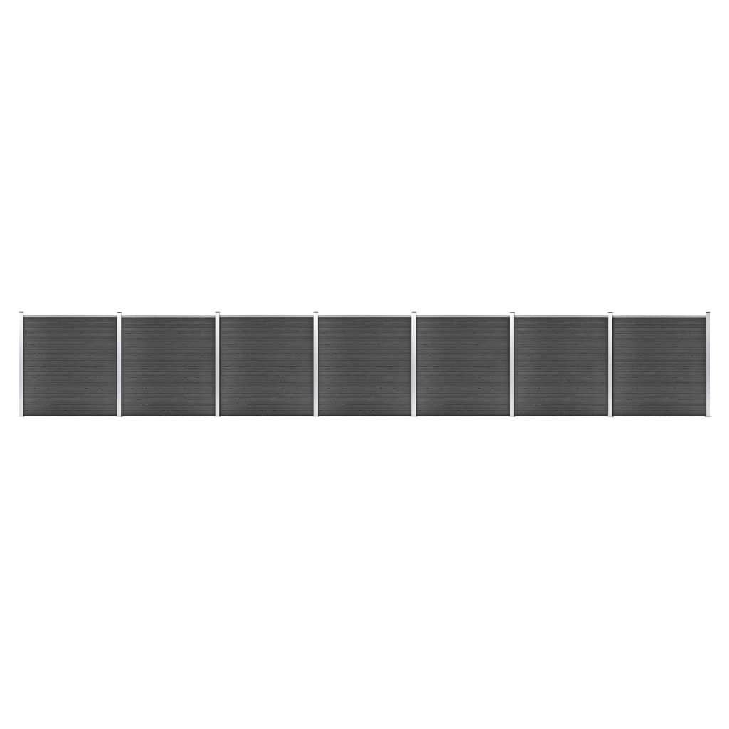 Schuttingpanelenset 1218x186 cm HKC zwart