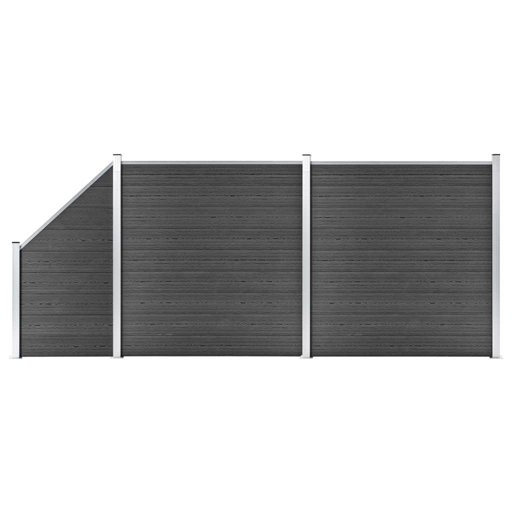 vidaXL Set de panouri de gard, negru, 446x (105-186) cm, WPC
