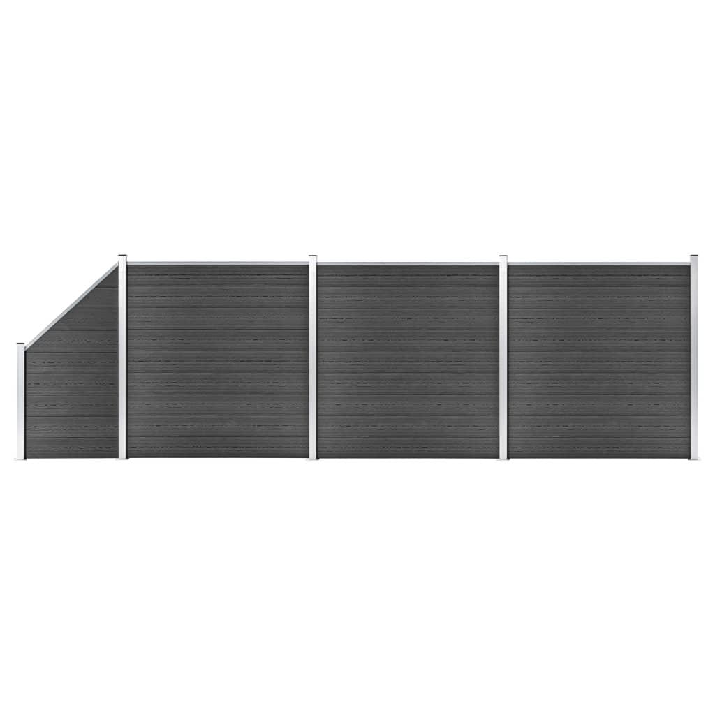 vidaXL Set de panouri de gard, negru, 619x(105-186) cm, WPC