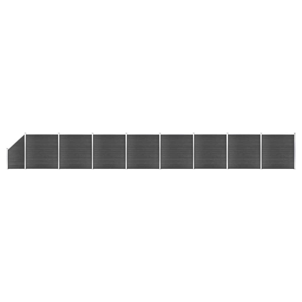 vidaXL Set de panouri de gard, negru, 1484x(105-186) cm, WPC