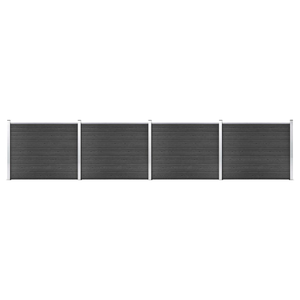 vidaXL Set panouri gard, 699x146 cm, gri, WPC