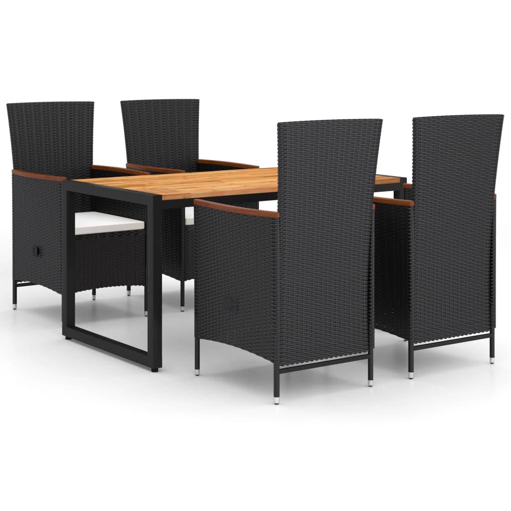 <ul><li><strong>Tisch:</strong></li><li>Material: Akazien-Massivholz, mit Öl behandelt</li><li>Maße: 140 x 80 x 75 cm (L x B x H)</li><li><strong>Stuhl:</strong></li><li>Farbe: Schwarz </li><li>Kien-Farbe: Cremeweiß</li><li>Material: PE-Rattan, Akazien-Massivholz, pulverbeschichteter Stahl</li><li>Polsterbezug: 100% Polyester</li><li>Maße (nicht zurückgelehnt): 58 x 62 x 108 cm (B x T x H)</li><li>Maße (zurückgelehnt): 58 x 90 x 91 cm (B x T x H)</li><li>Polsterstärke: 5 cm</li><li>Sitzbreite: 47 cm</li><li>Sitztiefe: 47 cm</li><li>Sitzhöhe vom Boden (ohne Polster): 43 cm</li><li>Armlehnenhöhe vom Boden: 67 cm</li><li>Verstellbare Rückenlehne</li><li>Montage erforderlich: Ja</li><li><strong>Lieferung enthält:</strong></li><li>1 x Tisch</li><li>4 x Stühle</li><li>4 x Sitzkissen</li></ul>